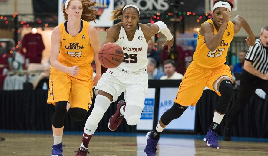 South Carolina guard Tiffany Mitchell (25) pushes the ball down court against East Carolina during the first half of an NCAA college basketball game on Sunday, Dec. 20, 2015, in Myrtle Beach, S.C. (AP Photo/Sean Rayford)