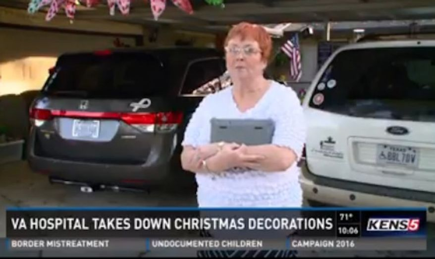 A VA hospital in San Antonio has removed Ethel Holloway's Christmas decorations after deciding they were too religious in nature. (KENS 5)