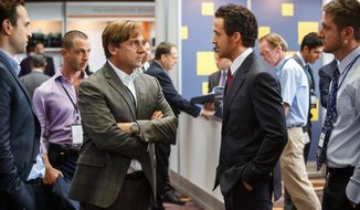 """This photo provided by Paramount Pictures shows, Rafe Spall, from left, as Danny Moses, Jeremy Strong as Vinnie Daniel, Steve Carell as Mark Baum, Ryan Gosling as Jared Vennett and Jeffry Griffin as Chris, in the film, """"The Big Short,"""" from Paramount Pictures and Regency Enterprises. The movie opens in U.S. theaters on Dec. 23, 2015. (Jaap Buitendijk/Paramount Pictures via AP)"""