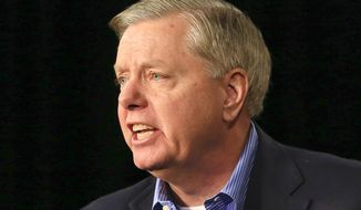 FILE - In this Oct. 31, 2015 file photo, Republican presidential candidate, Sen. Lindsey Graham, R-S.C., speaks in Des Moines, Iowa.  Graham has announced Monday he is ending his bid for the GOP nomination. (AP Photo/Nati Harnik, File)
