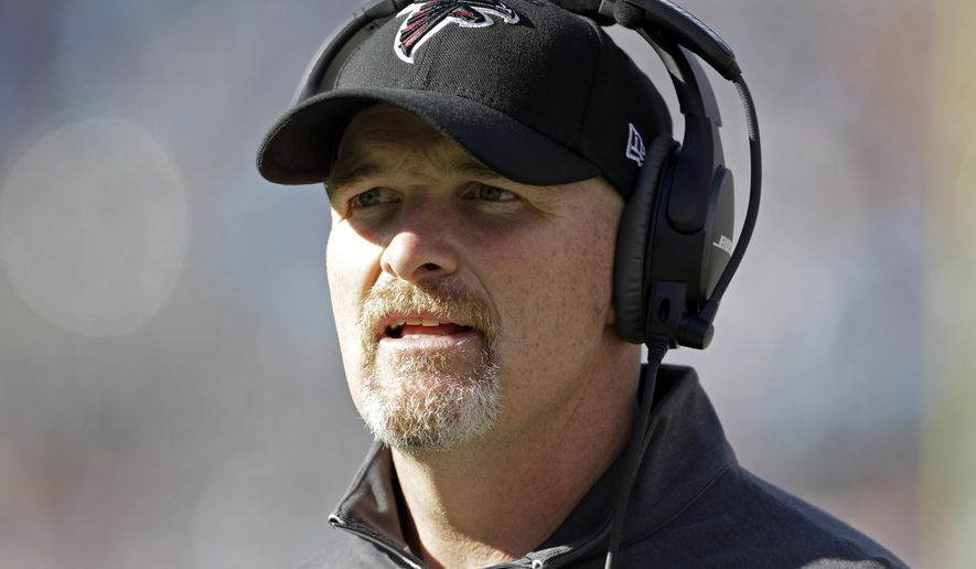 FILE - In this Dec. 13, 2015, file photo, Atlanta Falcons head coach Dan Quinn directs his team against the Carolina Panthers in the first half of an NFL football game in Charlotte, N.C.  After the Falcons won for the first time in seven weeks, first-year coach Quinn knows it is likely too late to save their playoff chances, but at least the victory gives the team hope for a winning record. (AP Photo/Bob Leverone, File)