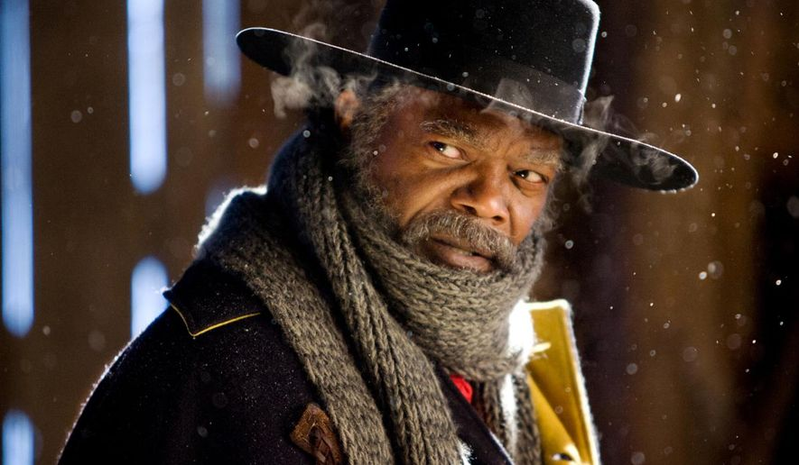 """This image released by The Weinstein Company shows Samuel L. Jackson in a scene from """"The Hateful Eight."""" (Andrew Cooper/The Weinstein Company via AP)"""