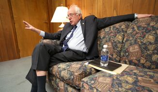 Democratic presidential candidate Sen. Bernie Sanders, I-Vt., talks about campaign issues during an interview at the Daily Times Herald in Carroll, Iowa, Tuesday, Dec. 22, 2015. (Jeff Storjohann/Carroll Daily Times Herald via AP)