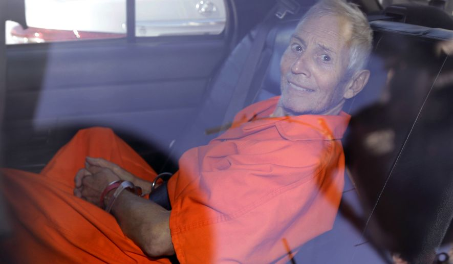 obert Durst is transported from Orleans Parish Criminal District Court to the Orleans Parish Prison after his arraignment on murder charges in New Orleans on March 17, 2015. (Associated Press)