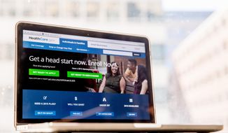FILE - In this Oct. 6, 2015, file photo, the HealthCare.gov website, where people can buy health insurance, is displayed on a laptop screen in Washington. Midway through sign-up season, more young adults are getting coverage through President Barack Obama's health care law. The number of new customers is also trending higher, officials said Dec. 22. (AP Photo/Andrew Harnik, File)