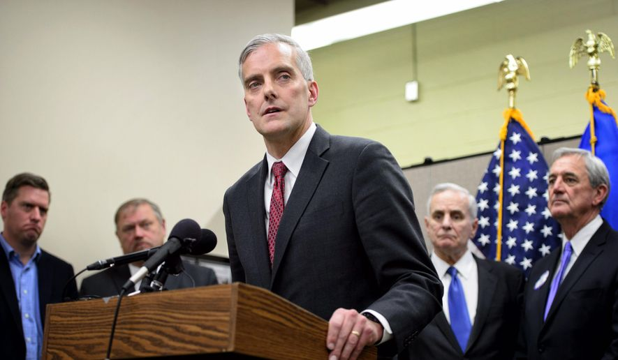 Denis McDonough, White House chief of staff, speaks at a news conference after meeting with Iron Rangers in Virginia, Minn., on Dec. 22, 2015. (Glen Stubbe/Star Tribune via AP) **FILE**