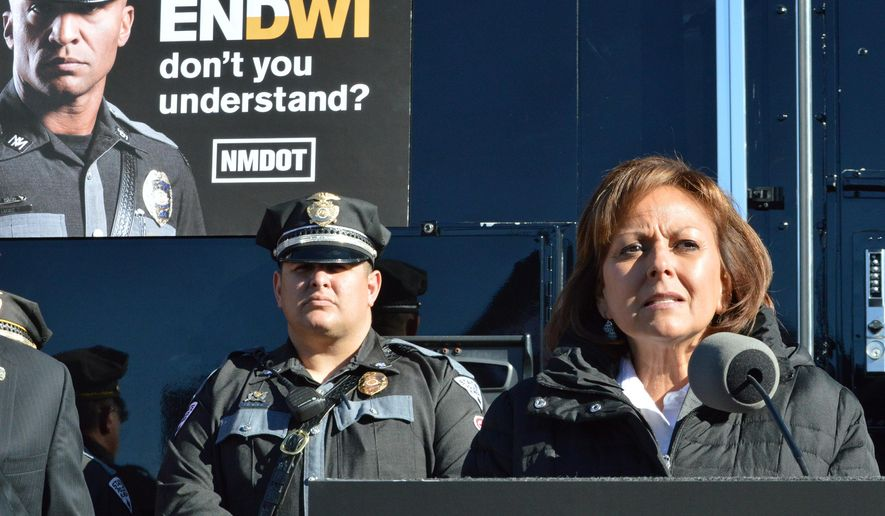 FILE - In this Dec. 14, 2015, file photo, New Mexico Gov. Susana Martinez speaks at the New Mexico State Police headquarters in Albuquerque, N.M. A recording from a Santa Fe police sergeant's belt tape suggests  Martinez was inebriated the night police responded to a complaint at a downtown hotel where the governor was hosting a holiday party. Santa Fe Police released the recording, Tuesday, Dec. 22, 2015, shedding more light on the Dec. 13 incident at the Eldorado Hotel and Spa. A clerk initially called dispatchers to report noise and that someone was throwing bottles from a hotel balcony. (AP Photo/Russell Contreras, File)