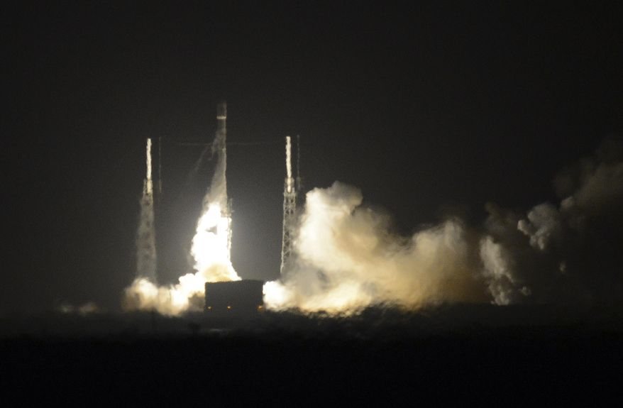 The SpaceX Falcon 9 rocket lifts off at Cape Canaveral Air Force Station, Monday, Dec. 21, 2015. The rocket, carrying 11 communications satellites for Orbcomm, Inc., is the first launch of the rocket since a failed mission to the International Space Station in June. (Craig Bailey/Florida Today via AP) ** FILE **
