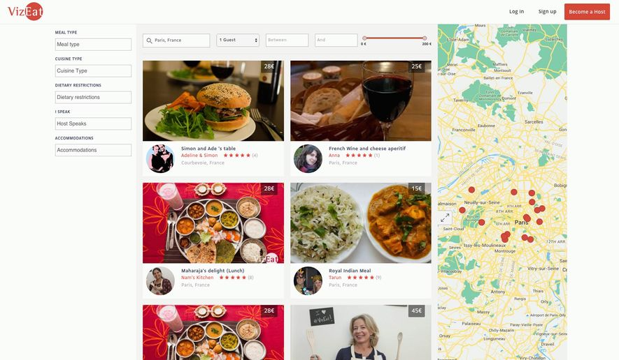 Tourists in Paris can log onto VizEat, a French website that arranges dinners in private homes whose owners want to share meals with foreign visitors.