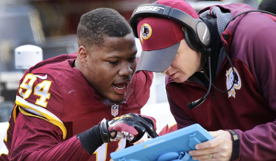 Washington Redskins linebacker Preston Smith (94) looks over a play during the first half of an NFL football game against the Buffalo Bills in Landover, Md., Sunday, Dec. 20, 2015. (AP Photo/Mark Tenally)