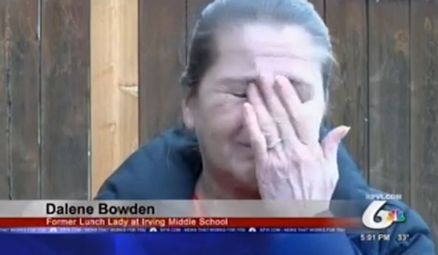 Dalene Bowden, a cafeteria worker at an Idaho middle school, is devastated after she was reportedly fired for giving food to a young student who had forgotten her lunch money. (KPVI)