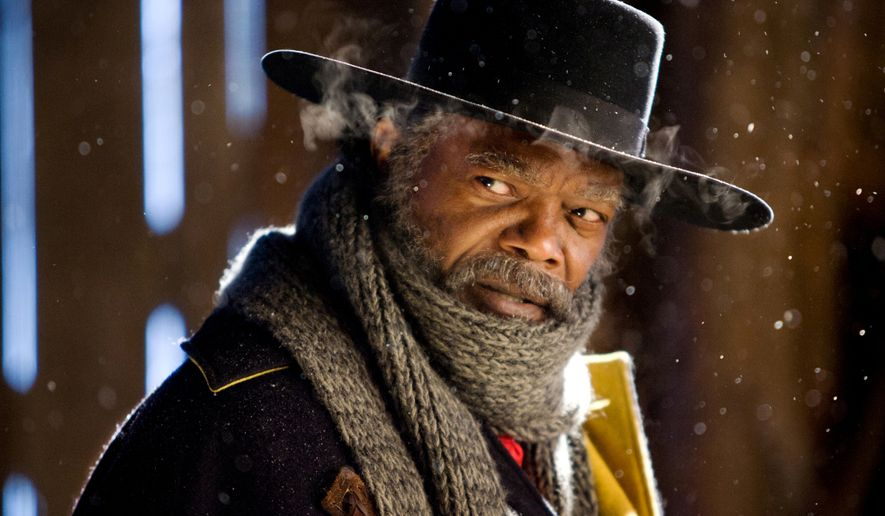 "This image released by The Weinstein Company shows Samuel L. Jackson in a scene from ""The Hateful Eight."" The movie opens in U.S. theaters on Jan. 1, 2016.  (Andrew Cooper/The Weinstein Company via AP)"