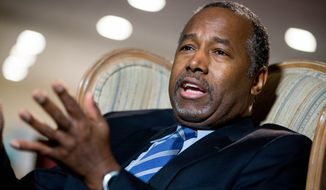 Republican presidential candidate Dr. Ben Carson speaks during an interview with The Associated Press in his home in Upperco, Md., Wednesday, Dec. 23, 2015. (AP Photo/Andrew Harnik)