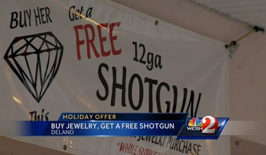 Goldsmith Jewelry and Engraving in Deland, Florida, is giving away free shotguns this Christmas. (WESH-TV)