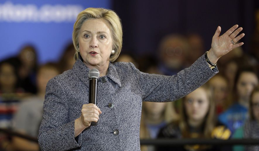 In this Dec. 22, 2015, photo, Democratic presidential candidate Hillary Clinton speaks during a town hall meeting at Keota High School in Keota, Iowa. Months of intense focus on the Republican race, and front-runner Donald Trump, have reverberated through the Democratic field, prompting Clinton to turn her attention to her would-be GOP challengers and leaving her chief rival, Vermont Sen. Bernie Sanders, gasping for airtime. (AP Photo/Charlie Neibergall)