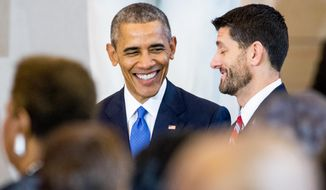 In this Dec. 9, 2015, file photo, President Barack Obama speaks with House Speaker Paul Ryan of Wis., right, during a commemoration ceremony for the 150th anniversary of the ratification of the 13th Amendment to the U.S. Constitution, which abolished slavery in the United States, in Emancipation Hall on Capitol Hill in Washington. (AP Photo/Andrew Harnik) ** FILE **
