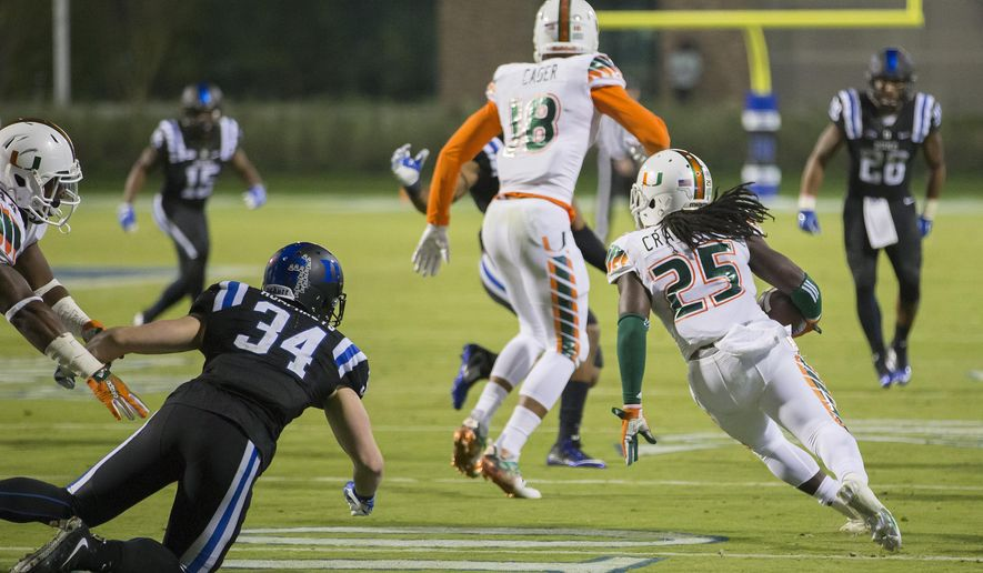 FILE - In this Oct. 31, 2015, file photo, Miami's Dallas Crawford (25) returns a kickoff,  which featured multiple laterals before Corn Elder subsequently received the final lateral, and scored to beat Duke 30-27 in an NCAA college football game, in Durham, N.C. (AP Photo/Rob Brown, File)