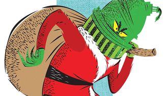 Illustration on government antipathy towards Christmas by Linas Garsys/The Washington Times
