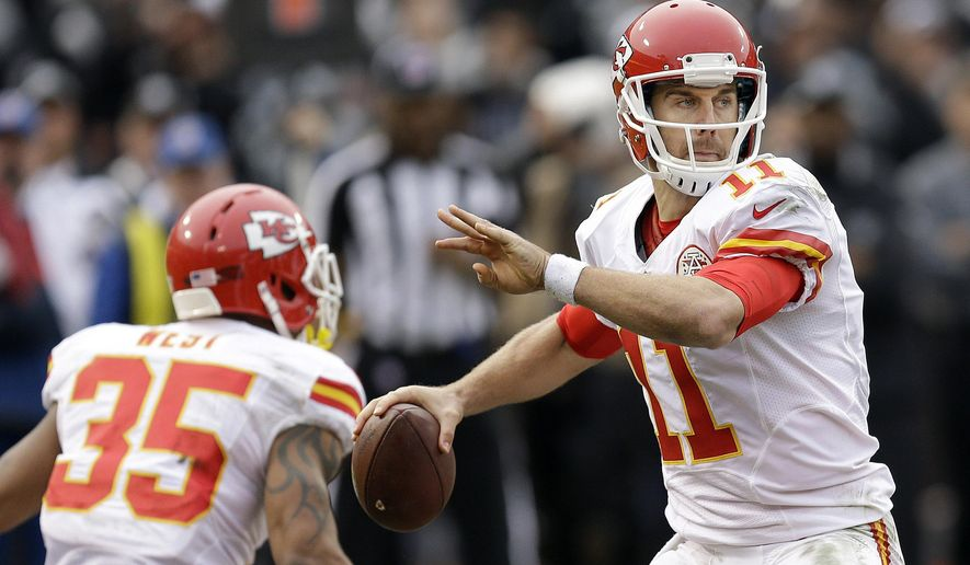 FILE - In this Sunday, Dec. 6, 2015. file photo, Kansas City Chiefs quarterback Alex Smith (11) passes against the Oakland Raiders during the first half of an NFL football game in Oakland, Calif. He was supposed to be the savior of a downtrodden franchise, a mobile quarterback with plenty of arm strength to keep defenses honest and enough moxie to lead his team to respectability. Perfect description Alex Smith. Pretty good for Johnny Manziel, too. (AP Photo/Ben Margot, File)
