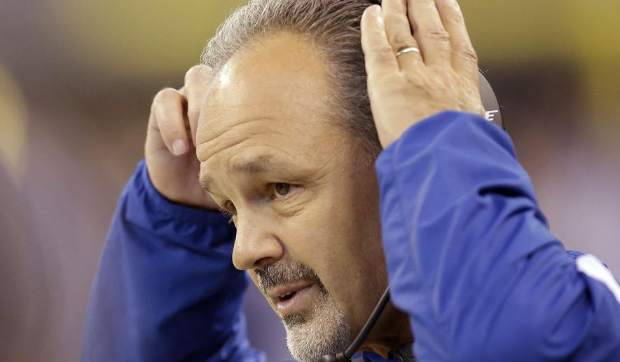 FILE -  This Dec. 20, 2015 file photo shows Indianapolis Colts head coach Chuck Pagano watching during the first half of an NFL football game against the Houston Texans in Indianapolis. The Colts will face the Miami Dolphins on Sunday, Dec. 27, 2015. (AP Photo/AJ Mast, file)