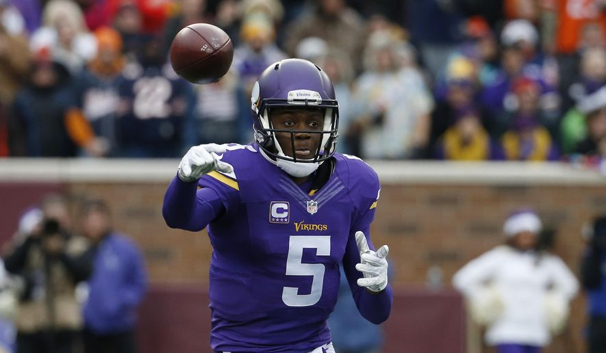 File-This Dec. 20, 2015, file photo shows Minnesota Vikings quarterback Teddy Bridgewater passing during the second half of an NFL football game against the Chicago Bears,  in Minneapolis. (AP Photo/Ann Heisenfelt, File)
