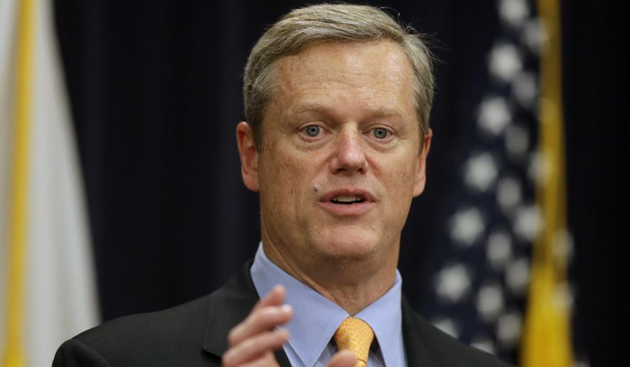 In this Oct. 15, 2015, file photo, Massachusetts Gov. Charlie Baker speaks during a news conference at the Statehouse in Boston announcing legislation aimed at addressing the state's opioid abuse epidemic. Baker is calling on lawmakers to take quick action in the new year on bills to fight the deadly opioid addiction crisis and to bring more energy into the state. (AP Photo/Steven Senne, File)