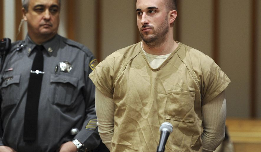 FILE - In this Nov. 24, 2015, file photo, Kyle Navin, charged with killing his parents, appears at a presentment at the Fairfield County Courthouse in Bridgeport, Conn. Navin's charge of murdering his parents was among the top stories in Connecticut for 2015. (Autumn Driscoll/Hearst Connecticut Media via AP, Pool, File) MANDATORY CREDIT