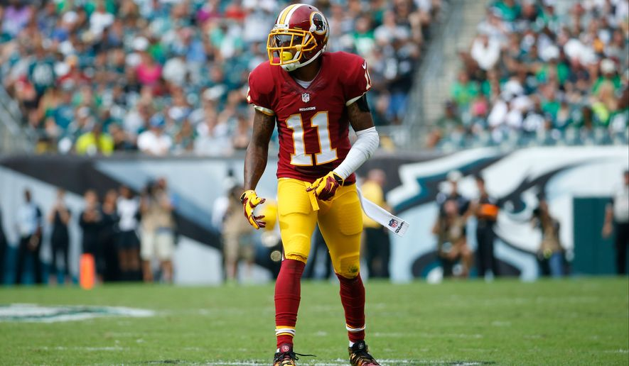 Washington Redskins' DeSean Jackson lines up during the first half of an NFL football game against the Philadelphia Eagles, Sunday, Sept. 21, 2014, in Philadelphia. (AP Photo/Matt Rourke)