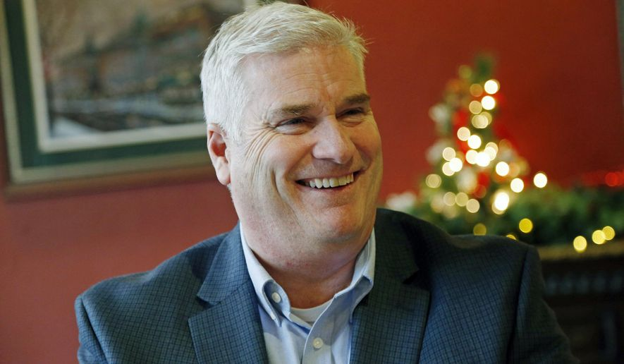 In this Dec. 22, 2015, photo, Rep. Tom Emmer, R-Minn., is interviewed in St. Paul, Minn. Emmer, who has a year under his belt as a Minnesota congressman, has held 14 town halls in all corners of the sprawling 6th District. (AP Photo/Jim Mone)