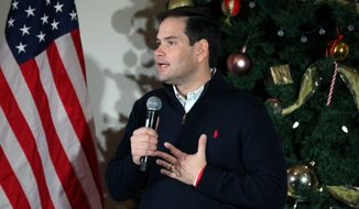 Republican presidential candidate Marco Rubio looks like an establishment figure in comparison with more fiery tea party conservatives. (Associated Press)