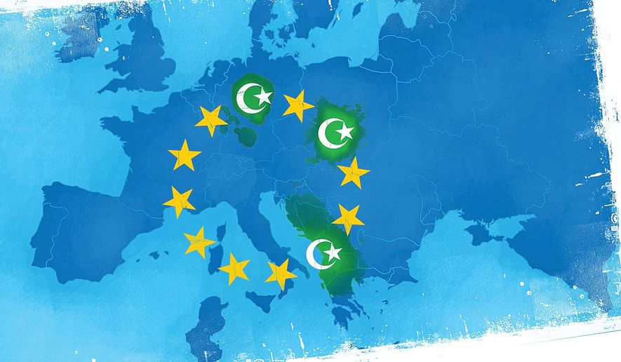 "Illustration on European ""no-go"" muslim dominated zones by Linas Garsys/The Washington Times"