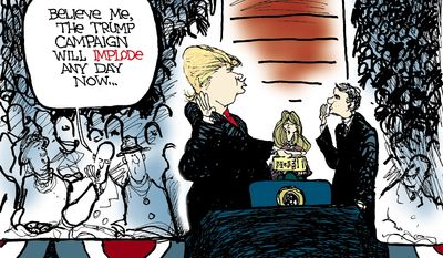 Believe me, the Trump campaign will implode any day now ... (Illustration by Scott Stantis of the Chicago Tribune)