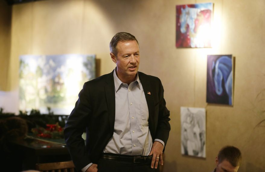 Democratic presidential candidate, former Maryland Gov. Martin O'Malley speaks during the Hardin County New Leadership Forum, Monday, Dec. 28, 2015, in Iowa Falls, Iowa. (AP Photo/Charlie Neibergall) ** FILE **