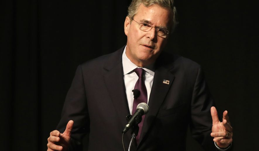 Republican presidential candidate and former Florida Gov. Jeb Bush speaks during a Forum Club of the Palm Beaches event at the Palm Beach County Convention Center in West Palm Beach, Fla., on Dec. 28, 2015. (Associated Press) **FILE**