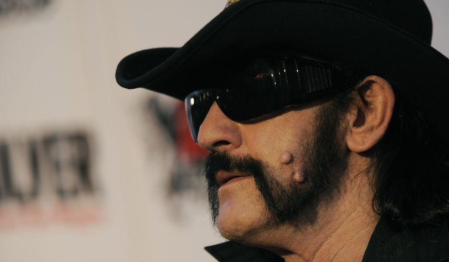 """FILE -  This April 8, 2010 file photo shows Lemmy Kilmister, of Motorhead, arriving at the second annual Revolver Golden Gods Awards in Los Angeles. Ian """"Lemmy"""" Kilmister, the Motorhead frontman whose outsized persona made him a hero for generations of hard-rockers and metal-heads, has died on Monday, Dec. 28, 2015. (AP Photo/Chris Pizzello, file)"""
