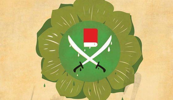 Illustration on the growth of the Muslim Brotherhood by Linas Garsys/The Washington Times