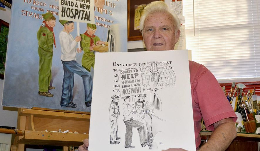 "In this Dec. 16, 2015, photo, Harold ""Ham"" Hampton poses in Effingham, Ill., with both a charcoal sketch and the finished product of Boy Scouts raising money for St. Anthony's Memorial Hospital that he recreated from an iconic photo in the revised edition of ""From Terror to Triumph,"" by the late Donna Riley-Gordon. The St. Anthony Hospital fire on April 4, 1949 killed 74 people. (Bill Grimes/Effingham Daily News via AP)"
