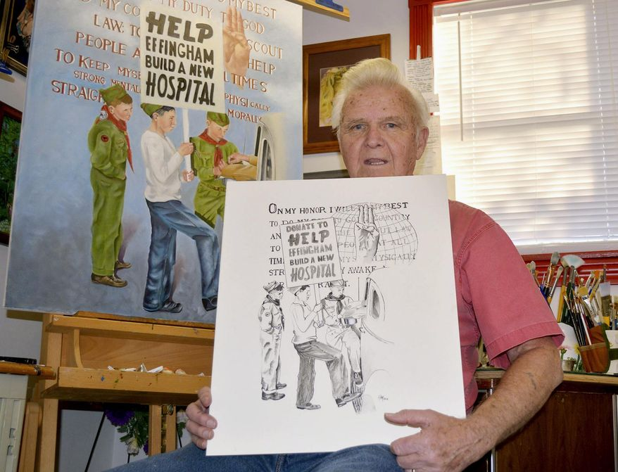 """In this Dec. 16, 2015, photo, Harold """"Ham"""" Hampton poses in Effingham, Ill., with both a charcoal sketch and the finished product of Boy Scouts raising money for St. Anthony's Memorial Hospital that he recreated from an iconic photo in the revised edition of """"From Terror to Triumph,"""" by the late Donna Riley-Gordon. The St. Anthony Hospital fire on April 4, 1949 killed 74 people. (Bill Grimes/Effingham Daily News via AP)"""