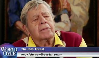 "Legendary comedian Jerry Lewis asserted that Syrian refugees should ""stay where the hell they are"" and declared his support for Republican presidential front-runner Donald Trump in a recent interview with Catholic journalist Raymond Arroyo. (YouTube/@Amanda Prestigiacomo)"