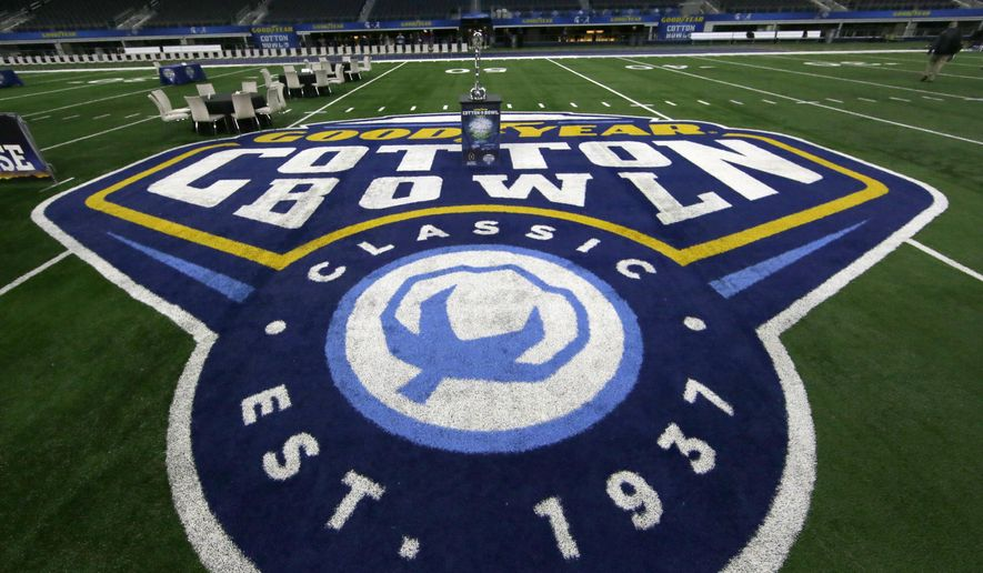 The midfield is shown during media day for the NCAA Cotton Bowl college football game Tuesday, Dec. 29, 2015, in Arlington, Texas. Michigan State and Alabama face off in the game on New Year's Eve. (AP Photo/LM Otero)