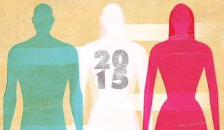 Illustration on the blurring of the sexes by Linas Garsys/The Washington Times