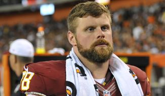 Washington Redskins center Kory Lichtensteiger stands on the sideline during an NFL preseason football game against the Cleveland Browns Thursday, Aug. 13, 2015, in Cleveland. Washington won 20-17. (AP Photo/David Richard)