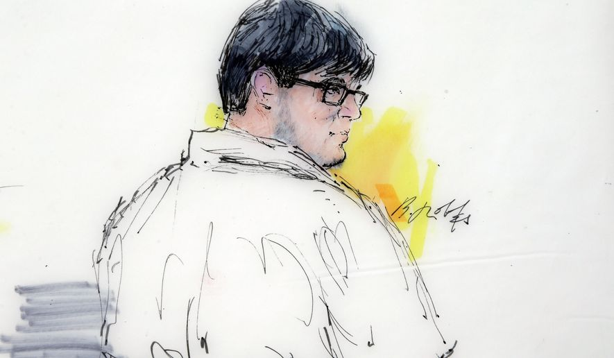 In this courtroom sketch, Enrique Marquez appears in federal court in Riverside, Calif., Monday, Dec. 21, 2015. (Associated Press)