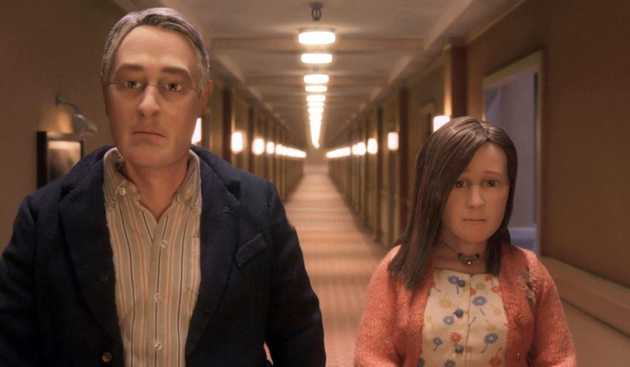 """This photo provided by Paramount Pictures shows, David Thewlis voices Michael Stone, left, and Jennifer Jason Leigh voices Lisa Hesselman, in the animated stop-motion film, """"Anomalisa,"""" by Paramount Pictures. The film opens in U.S. theaters in Jan. 2016. (Paramount Pictures via AP)"""