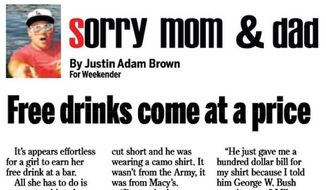 The Weekender, a weekly newspaper in northeastern Pennsylvania, has sparked outrage after one of its columnists penned a piece about pretending to be a U.S. veteran to score free drinks at bars. (The Weekender via Fox News)