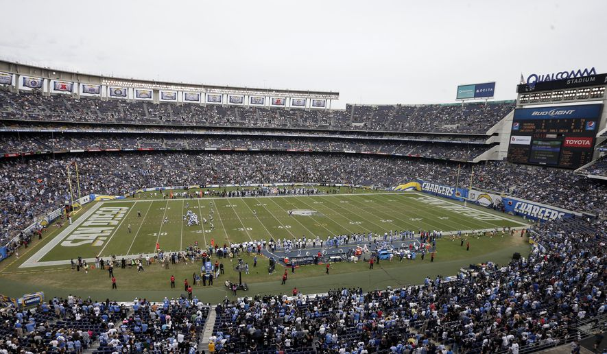 FILE - In this Oct. 25, 2015, file photo, fans watch the San Diego Chargers play the Oakland Raiders during the second half of an NFL football game at Qualcomm Stadium in San Diego. City and county officials have made their final pitch to the NFL in what has been a contentious effort to keep the Chargers from moving to the Los Angeles area. Mayor Kevin Faulconer and county Supervisor Ron Roberts signed the letter, which reiterates that the public contribution for a $1.1 billion stadium will be $350 million and the Chargers' share would be $353 million.  (AP Photo/Gregory Bull, File)