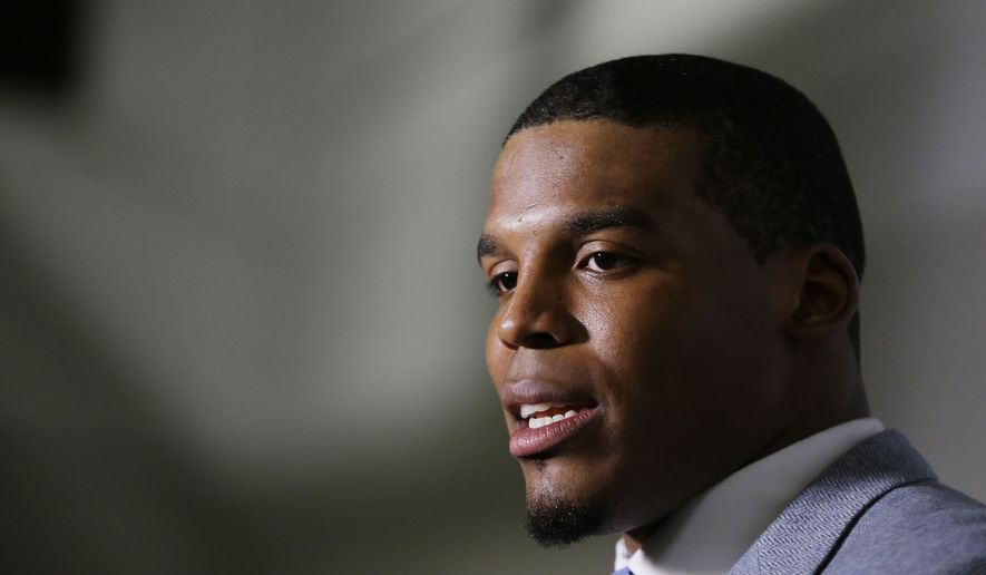 FILE - In this Dec. 27, 2015 file photo, Carolina Panthers quarterback Cam Newton speaks after an NFL football game against the Atlanta Falcons in Atlanta. Newton said Wednesday, Dec. 30, on Twitter that his longtime girlfriend had a son last week. (AP Photo/David Goldman, File)