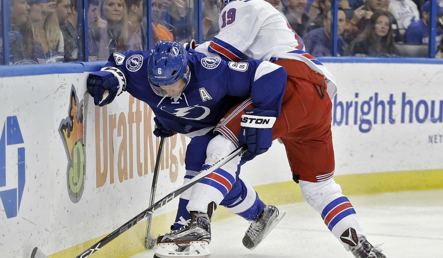 New York Rangers right wing Jesper Fast (19), of Sweden, pins Tampa Bay Lightning defenseman Anton Stralman (6), also of Sweden, during the first period of an NHL hockey game Wednesday, Dec. 30, 2015, in Tampa, Fla. (AP Photo/Chris O'Meara)