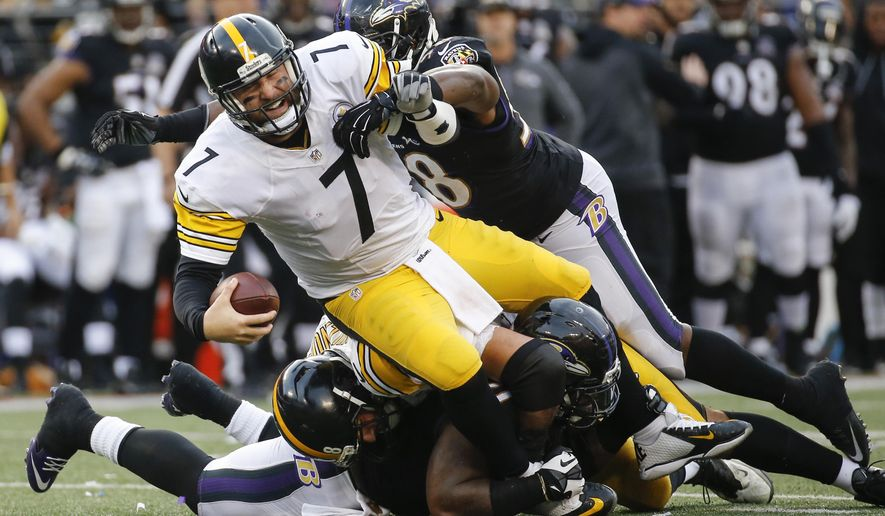 FILE - In this Sunday, Dec. 27, 2015, Pittsburgh Steelers quarterback Ben Roethlisberger (7) is sacked by Baltimore Ravens outside linebacker Elvis Dumervil (58) during the second half of an NFL football game in Baltimore. The Steelers' high-powered offense has hit the occasional speed bump on the road this season and not even Roethlisberger is immune. (AP Photo/Patrick Semansky, File)