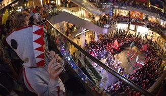 A flautist plays during a Stanford pep rally Wednesday, Dec. 30, 2015, in Santa Monica, Calif. Stanford is scheduled to meet Iowa in the Rose Bowl on New Year's Day. (AP Photo/Mark J. Terrill)